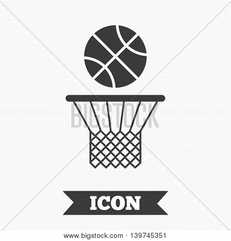 Basketball basket and ball sign icon. Sport symbol. Graphic design element. Flat basketball symbol on white background. Vector