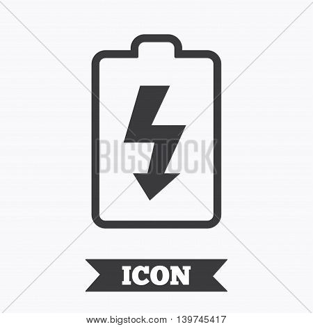 Battery charging sign icon. Lightning symbol. Graphic design element. Flat battery symbol on white background. Vector