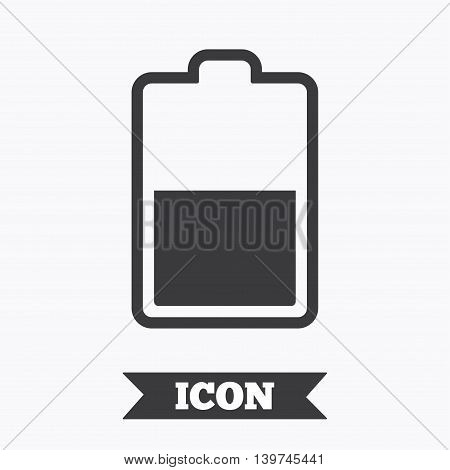 Battery half level sign icon. Low electricity symbol. Graphic design element. Flat battery symbol on white background. Vector