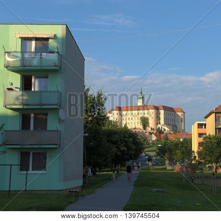 Town Mikulov in south of Moravia in hot summer evening