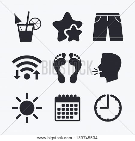 Beach holidays icons. Cocktail, human footprints and swimming trunks signs. Summer sun symbol. Wifi internet, favorite stars, calendar and clock. Talking head. Vector