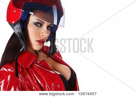 Sexy biker.  woman with red helmet