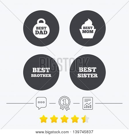 Best mom and dad, brother and sister icons. Weight and cupcake signs. Award symbols. Chat, award medal and report linear icons. Star vote ranking. Vector
