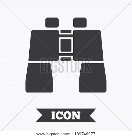 Binocular sign icon. Search symbol. Find information. Graphic design element. Flat binocular symbol on white background. Vector