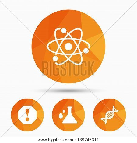 Attention and DNA icons. Chemistry flask sign. Atom symbol. Triangular low poly buttons with shadow. Vector
