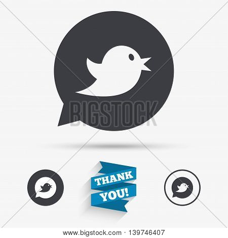 Bird icon. Social media sign. Short messages speech bubble symbol. Flat icons. Buttons with icons. Thank you ribbon. Vector