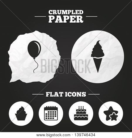 Crumpled paper speech bubble. Birthday party icons. Cake with ice cream signs. Air balloon with rope symbol. Paper button. Vector