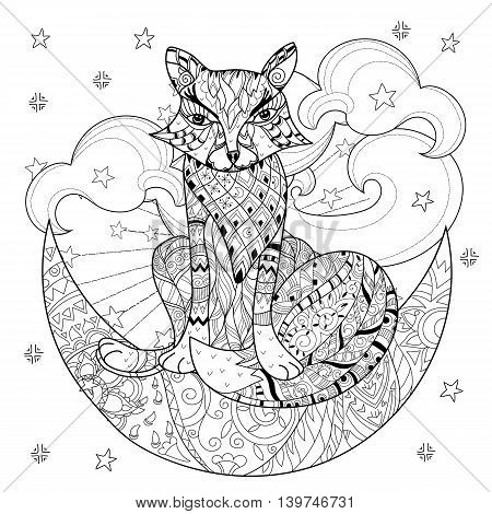 Cute fox on christmas half moon with stars . Hand drawn doodle zen art.Adult anti stress coloring book or tattoo boho style.