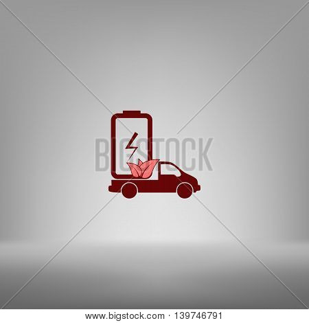Flat Paper Cut Style Icon Of Eco Vehicle