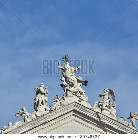 Assumption of the Virgin Mary into Heaven at the top of jesuit church in Venice made by baroque sculptor Torretti in the 18th century