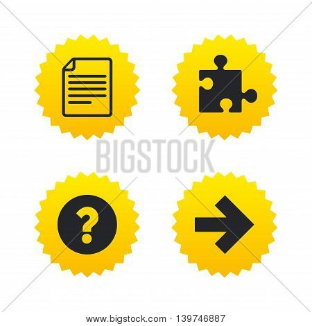 Question mark and puzzle piece icons. Document file and next arrow sign symbols. Yellow stars labels with flat icons. Vector