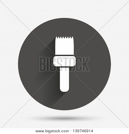 Paint brush sign icon. Artist symbol. Circle flat button with shadow. Vector
