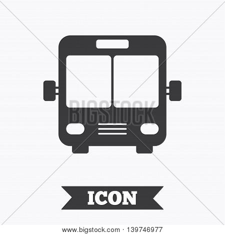 Bus sign icon. Public transport symbol. Graphic design element. Flat bus symbol on white background. Vector