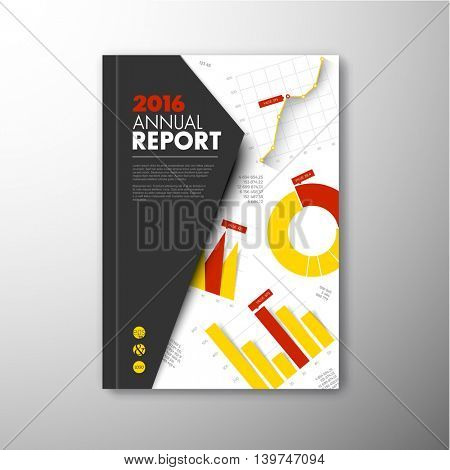 Modern Vector annual brochure, report or flyer design template with infographic graphs and charts - yellow and red version