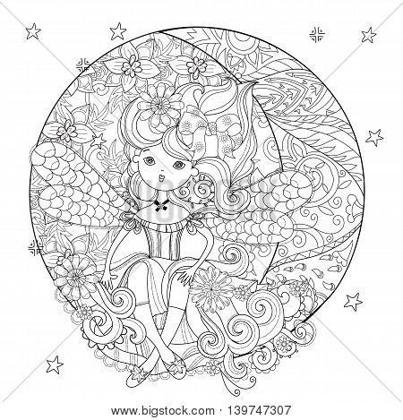 Vector cute fairy girl in flowers on christmas half moon.Vector line illustration.Sketch for postcard or print or coloring adult anti stress book.Boho zen art style doodle.