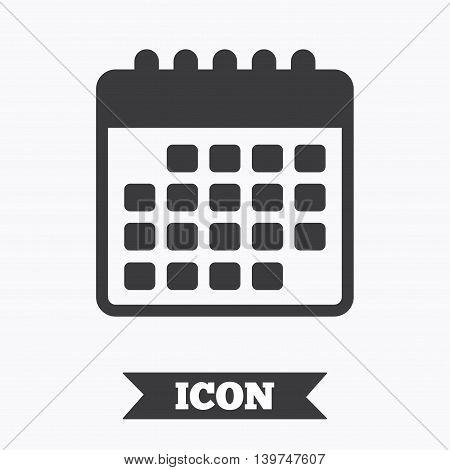 Calendar icon. Event reminder symbol. Graphic design element. Flat calendar symbol on white background. Vector