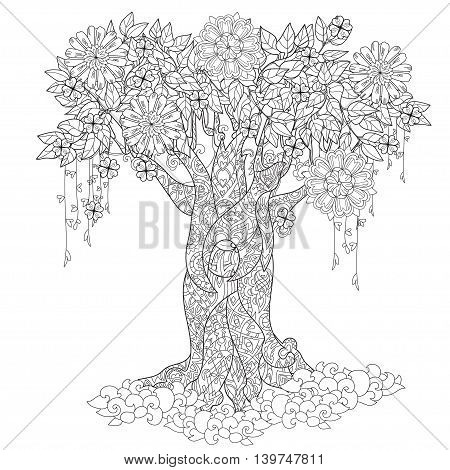 Cute fairy tale tree from magic forest with flowers. Hand drawn doodle zen art.Adult anti stress coloring book or tattoo boho style.