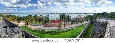 View from the fort of San Felipe to Bacalar Lagoon. Panorama of several frames