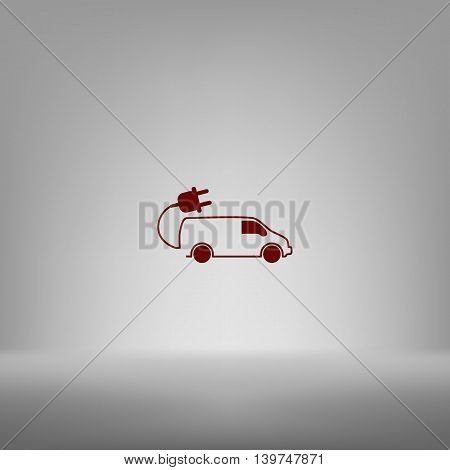 Flat Paper Cut Style Icon Of An Eco Car