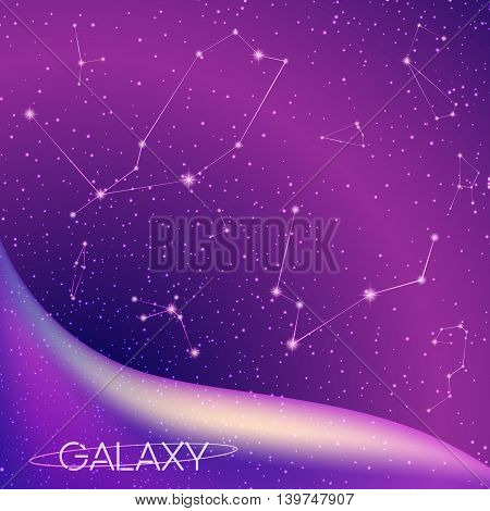 Abstract cosmic galaxy background with star constellations, milky way, stardust, nebula and bright shining stars. Cosmic design of deep night sky. Vector illustration for your design, artworks.