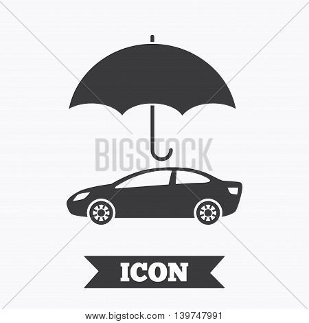 Car insurance sign icon. Protection symbol. Graphic design element. Flat insurance symbol on white background. Vector