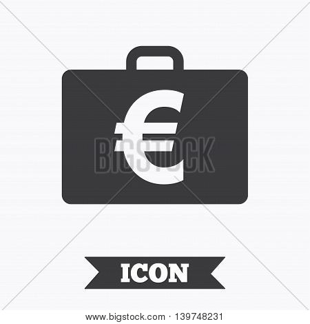 Case with Euro EUR sign icon. Briefcase button. Graphic design element. Flat diplomat symbol on white background. Vector