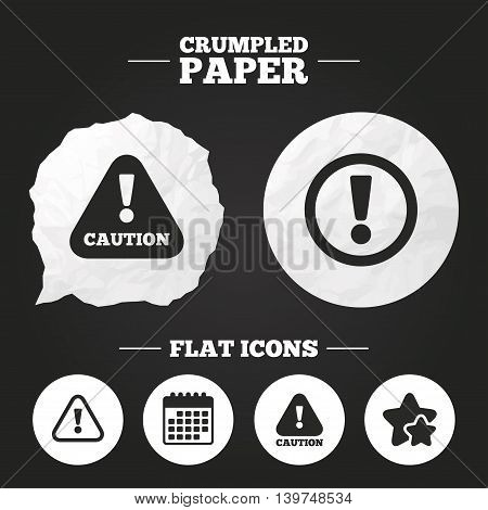 Crumpled paper speech bubble. Attention caution icons. Hazard warning symbols. Exclamation sign. Paper button. Vector