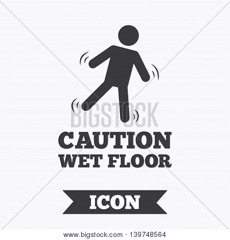 Caution wet floor sign icon. Human falling symbol. Graphic design element. Flat wet floor symbol on white background. Vector