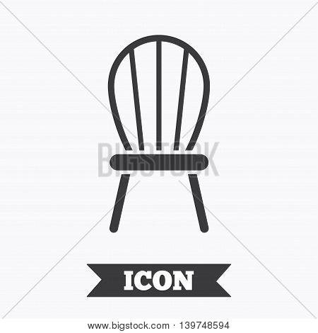 Chair sign icon. Modern furniture symbol. Graphic design element. Flat chair symbol on white background. Vector