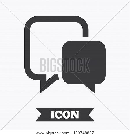Chat sign icon. Speech bubble symbol. Communication chat bubble. Graphic design element. Flat chat symbol on white background. Vector