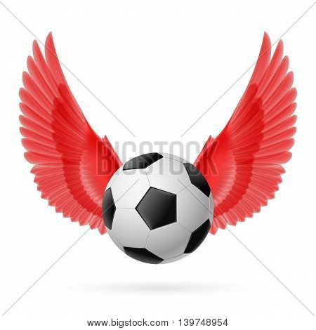 Realistic soccer ball emblem with red wings