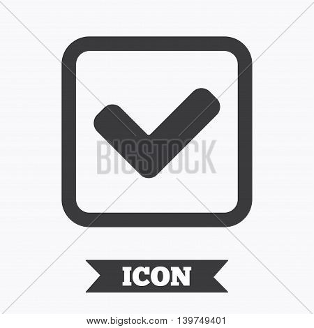 Check mark sign icon. Yes square symbol. Confirm approved. Graphic design element. Flat check symbol on white background. Vector