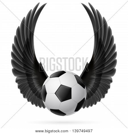 Realistic soccer ball emblem with raised up black wings