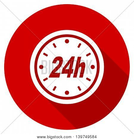 24h red vector icon, circle flat design internet button, web and mobile app illustration