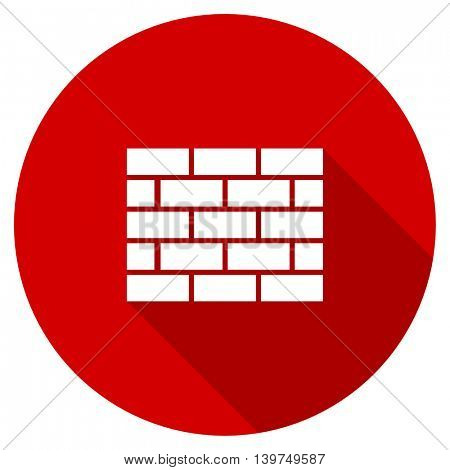 firewall red vector icon, circle flat design internet button, web and mobile app illustration