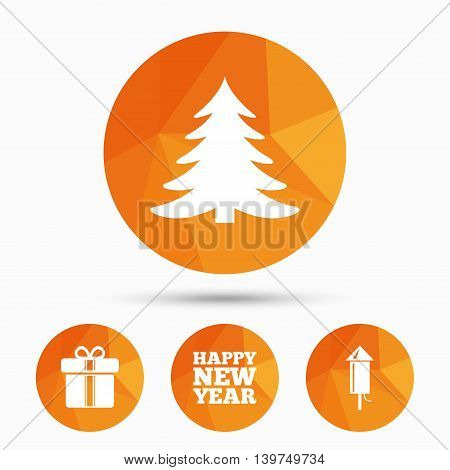 Happy new year icon. Christmas tree and gift box signs. Fireworks rocket symbol. Triangular low poly buttons with shadow. Vector