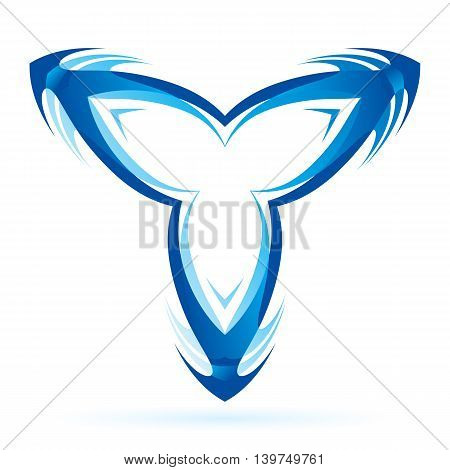 Graphic branched blue element on the white background