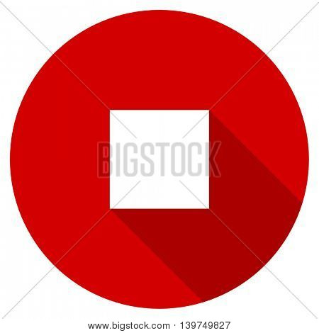 stop red vector icon, circle flat design internet button, web and mobile app illustration