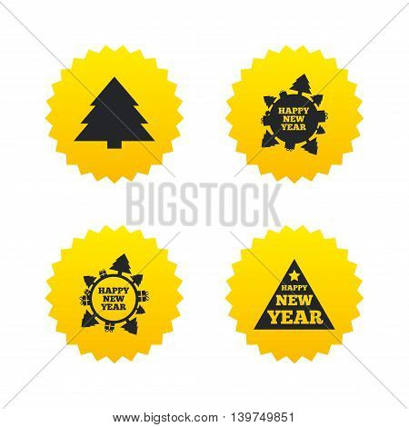 Happy new year icon. Christmas trees signs. World globe symbol. Yellow stars labels with flat icons. Vector