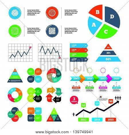 Data pie chart and graphs. Circuit board icons. Technology scheme circles and squares sign symbols. Presentations diagrams. Vector