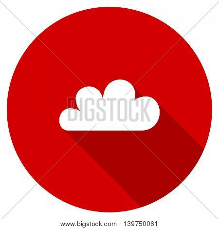 cloud red vector icon, circle flat design internet button, web and mobile app illustration