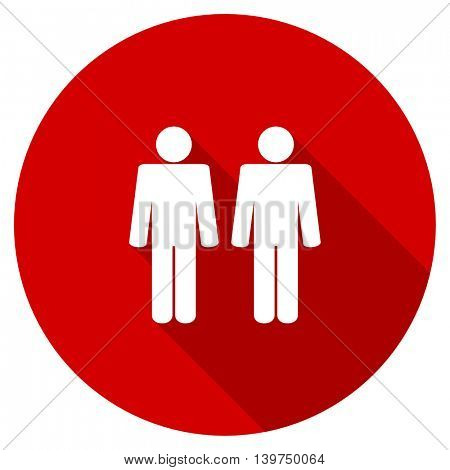 couple red vector icon, circle flat design internet button, web and mobile app illustration
