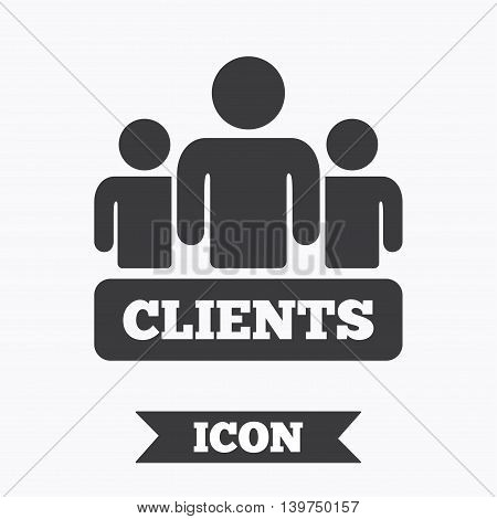 Clients sign icon. Group of people symbol. Graphic design element. Flat clients symbol on white background. Vector
