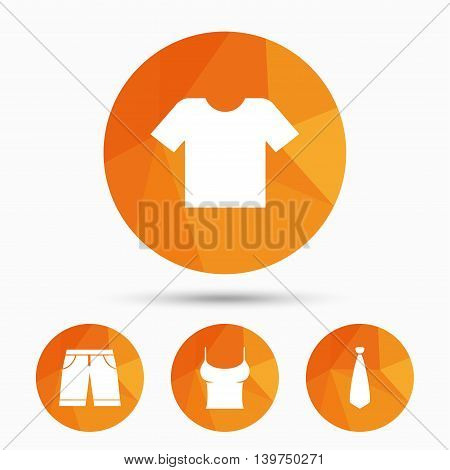 Clothes icons. T-shirt and bermuda shorts signs. Business tie symbol. Triangular low poly buttons with shadow. Vector