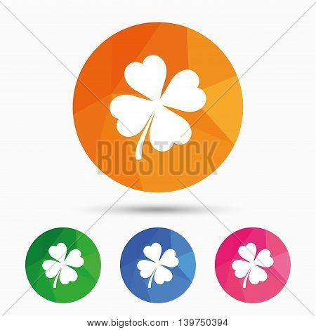 Clover with four leaves sign icon. Saint Patrick symbol. Triangular low poly button with flat icon. Vector
