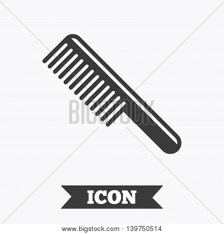 Comb hair sign icon. Barber symbol. Graphic design element. Flat comb symbol on white background. Vector