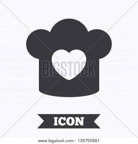 Chef hat sign icon. Cooking symbol. Cooks hat with heart love. Graphic design element. Flat cooking symbol on white background. Vector
