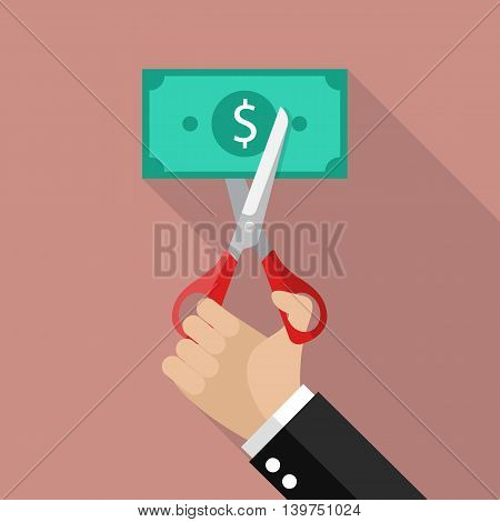 Hand cutting money bill. Business concept vector illustration