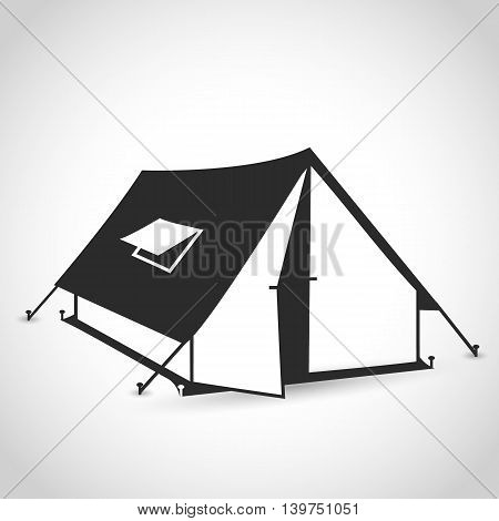 tent icon in a flat design on a white background with shadow