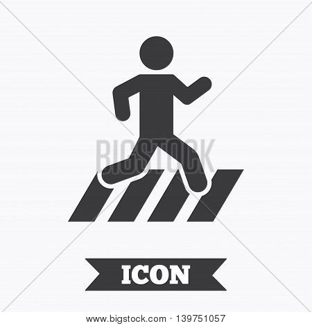 Crosswalk icon. Crossing street sign. Graphic design element. Flat crosswalk symbol on white background. Vector